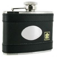 4oz Black Leather Lambskin Hip Flask with engraving plate RRP £31.99 25% off